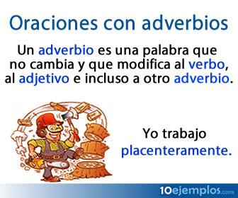 En las oraciones con adverbios, el adverbio es la parte que modifica a un verbo, a un adjetivo, a otro adverbio.