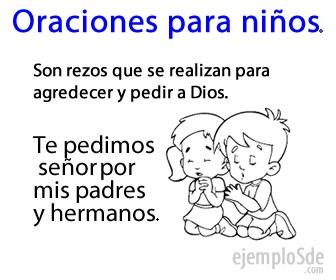 Las oraciones para niños, son agradecimientos que se les inculcan por su religión.