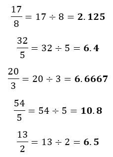 Ejemplos de conversión de fracciones impropias a número decimal