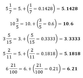 Ejemplos de conversión de fracciones mixtas a número decimal