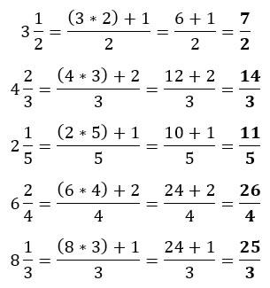 Ejemplos de conversión de fracciones mixtas a impropias