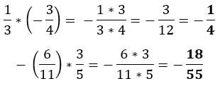 Multiplicación de fracciones con signos diferentes