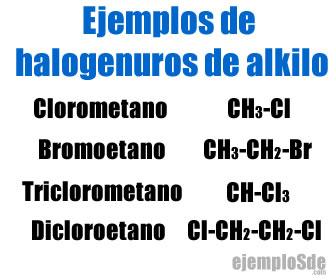 Ejemplos de halogenuros de alkilo